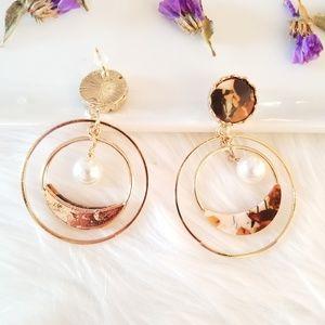 Jewelry - Orange hoop stud earrings